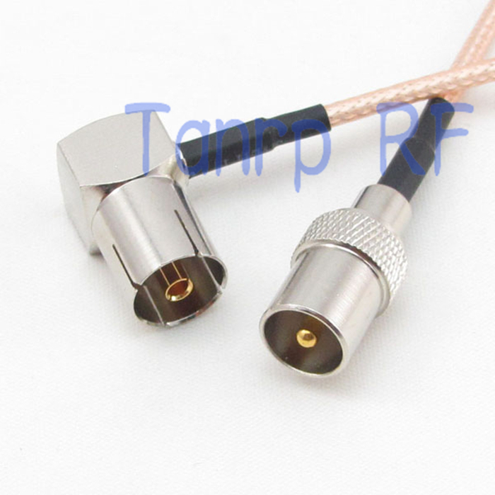 12in TV femelle jack angle droit à TV fiche mâle RF adaptateur connecteur 30 CM Pigtail cavalier coaxial rallonge câble RG316