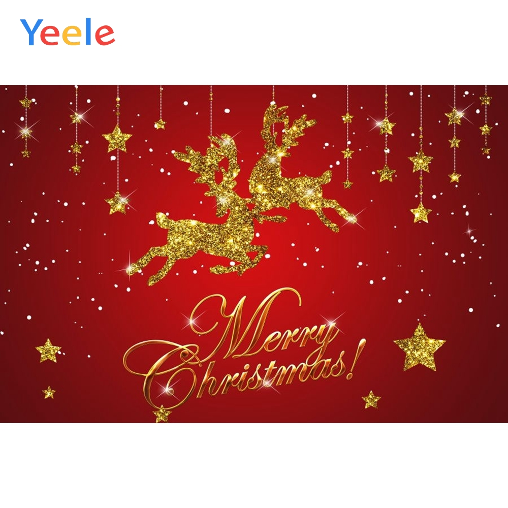Yeele Christmas Decoration Elk Glitter Gold Stars Winter Photographic Backdrop Photocall Photography Backgrounds For the Photo