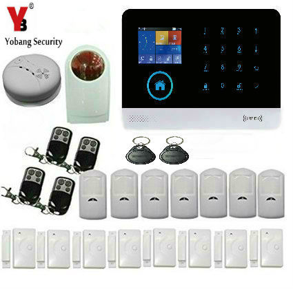все цены на Yobang Security WiFi GPRS GSM Wireless Alarm System+Wireless Smoke Detector outdoor siren Wireless Door/window sensor Kits онлайн