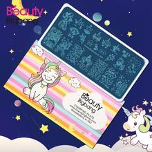 Beautybigbang 6*12CM estampage plaques XL 081 nuage étoile mignon licorne motif Nail Art estampage plaque impression Image