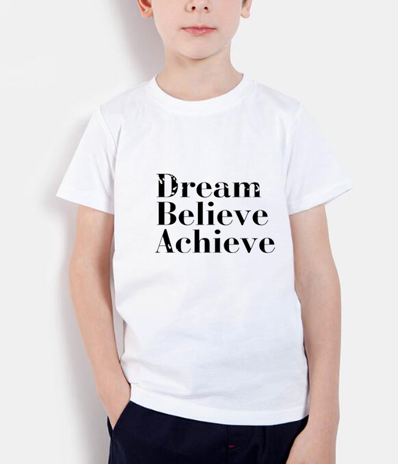 sueño creer lograr letra imprimir camisetas para niños 2018 verano - Ropa de ninos
