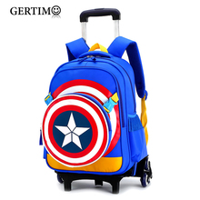 Triple Wheels Trolley School Bag For Girls and Boys Portable Detachable Captain America Backpacks For Children Alloy Rod Bags цена