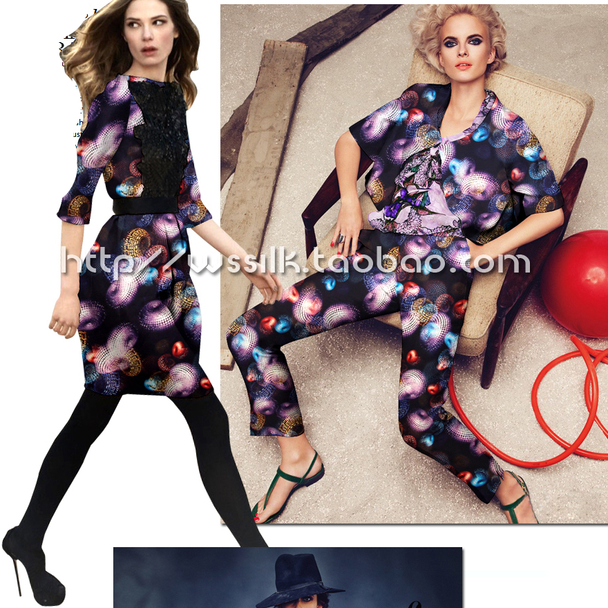 designer 93% silk 7% spandex stretch satin culottes purple and black apparel fabric 1meter T147