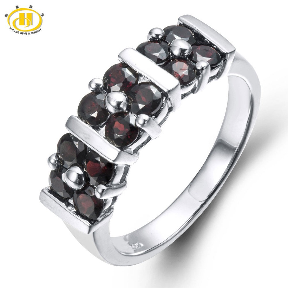 HUTANG 1.92ct Natural Black Garnet Solid 925 Sterling Silver Ring Gemstone Fine Jewelry Womens Xmas Gift Black Friday