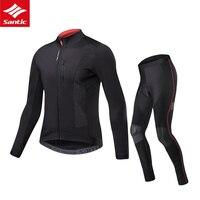 Велоспорт Джерси для мужчин с длинным рукавом набор велосипедных Джерси Santic Спортивная Одежда MTB быстросохнущая Мужская одежда для дорожно
