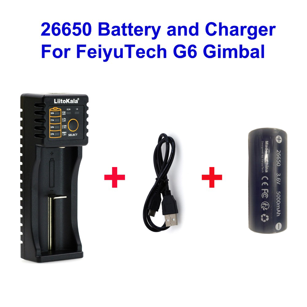 цена на Quality 26650 Battery Charger and Original FeiyuTech 26650 Battery 5000mah for Feiyu FY FeiyuTech G6 Gimbal Battery and Charger
