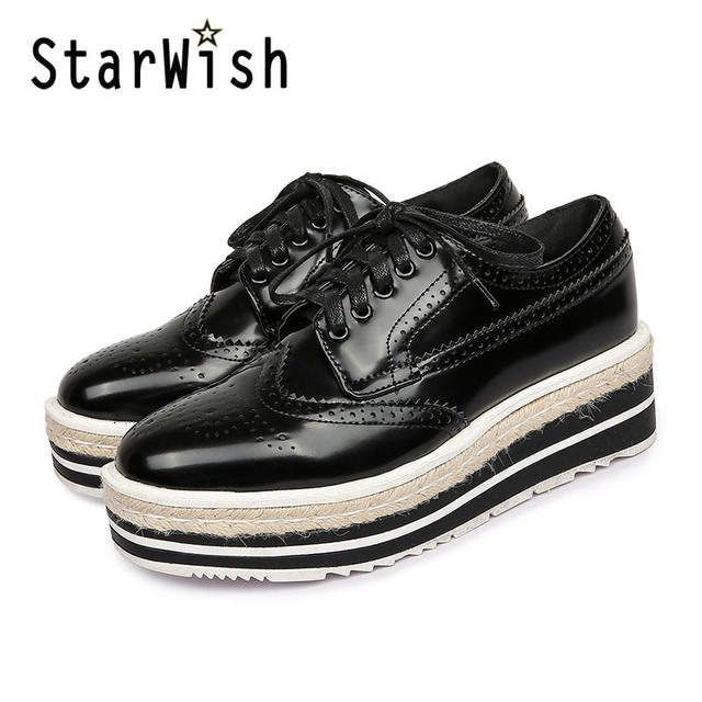 Vintage Women Brogue Shoes Lace Up Hemp Thick Bottom Oxfords Shoes For Women Mirror Patent Creepers Ladies Flat Platform Shoes