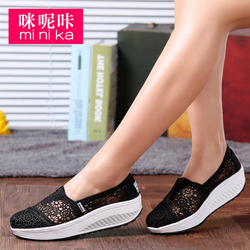 Women casual shoes 2017 spring summer breathable lace canvas shoes women platform slip on solid wedges.jpg 250x250
