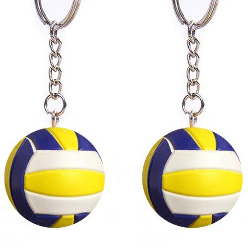 2 piezas de voleibol baloncesto acción figura voleibol baloncesto llaveros deportes clave cubre los mejores regalos de los niños