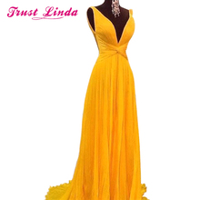 NEW Sexy Backless A Line Bridesmaid Dresses Vibrant Yellow C