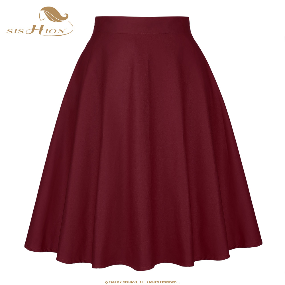 SISHION Cotton High Waist Skirts Womens Summer Short Black Blue Red Wine Red Green Bottoms 50s 60s Vintage Skirt Saia Plus Size