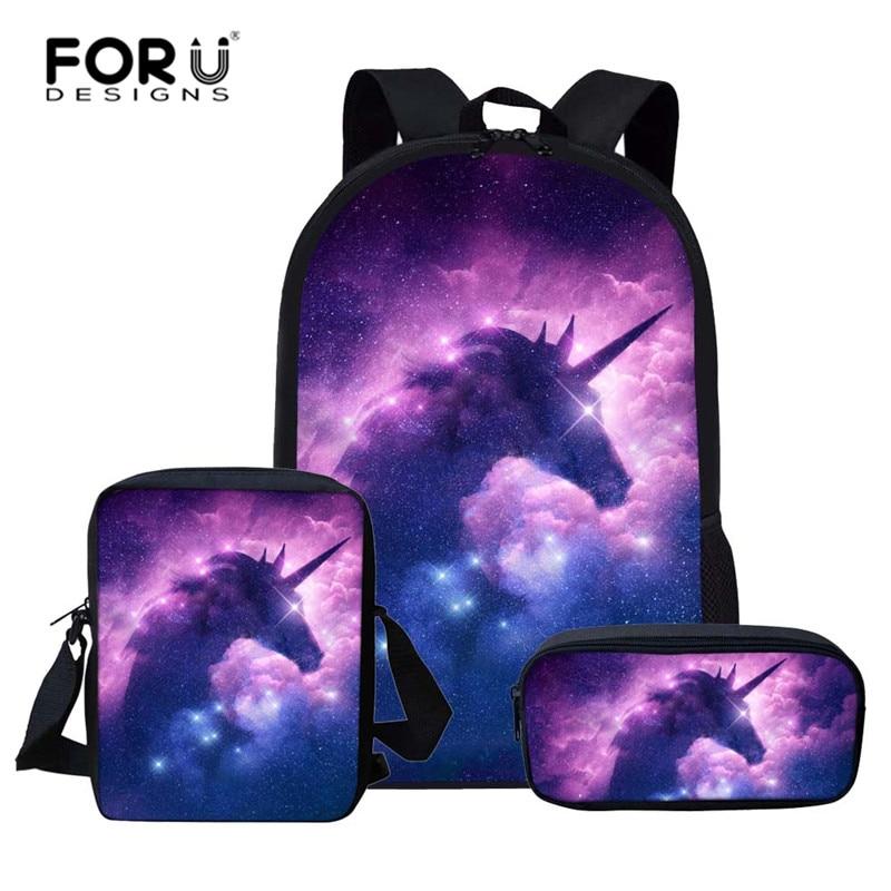 FORUDESIGNS Kids Schoolbag Student School Backpack Unicorn Children Bagpack Primary School Book Bags For Teenage Girls Boys