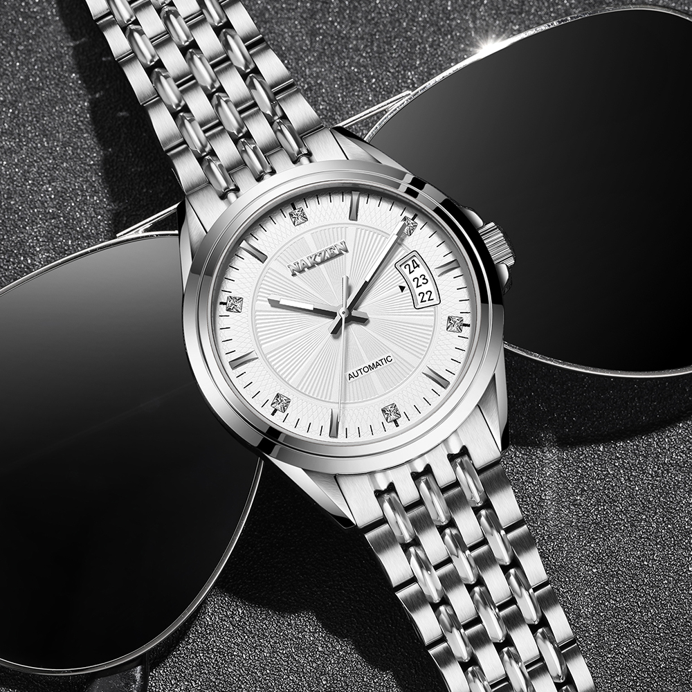 NAKZEN Men Mechanical Miyota 8205 Movement Watches Japan Automatic Mens Sapphire Crystal Wrist Watch Male Clock Reloj Hombre