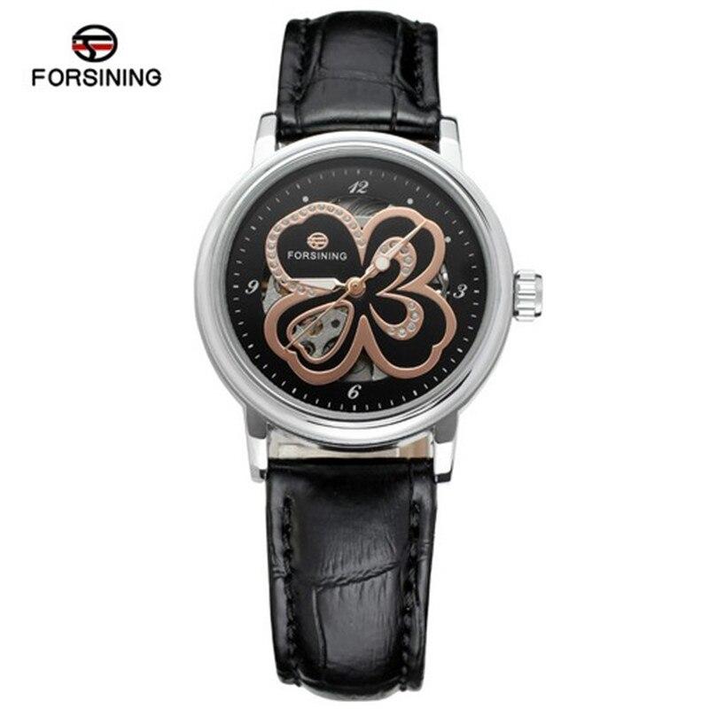 Forsining Women's Watch Skeleton Analog Transparent Crystal Leather StrapFashion Casual Brand Wristwatch Color Black Clock велосипед dewolf trx 150 2017