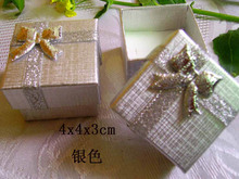 Big Promotion Discount Free Shipping 48pcs Silver Ring Display Box Cute Bowknot Ring Earring Box For