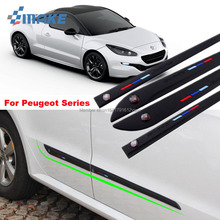 smRKE Car-styling 4pcs High Quality Brand New Side Doors Rubber Bumper Protector Guard Scratch Sticker Trim For Peugeot Vehicle