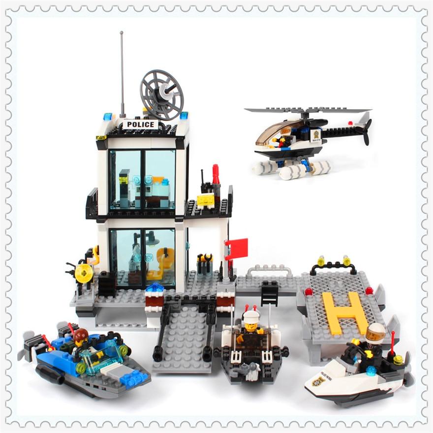 536Pcs Building Block Toys Police Station Helicopter Boat KAZI 6726 DIY Figure Brinquedos Gift For Children Compatible Legoe police pl 12921jsb 02m
