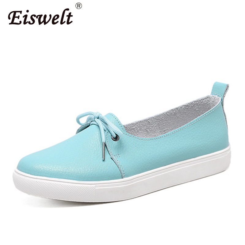 EISWELT Female Spring Lovely Solid Women Shoes Leather Women Flats Shoes 4 Colors Casual Fashion Shoes Woman Causal Falts