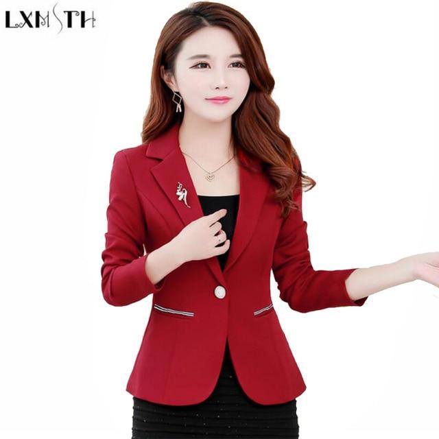 fcffd930de2e9 LXMSTH Autumn Korean Formal Women Blazers and jackets Long Sleeve Solid Slim  ladies Short Suit jacket Coat Plus Size Blazer Work