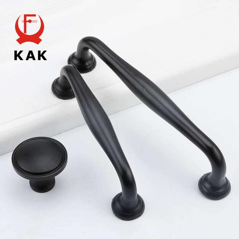 KAK 5pcs/lot American Style Black Handles Modern Cabinet Drawer Knobs Wardrobe Door Handles Wholesale Furniture Handle Hardware