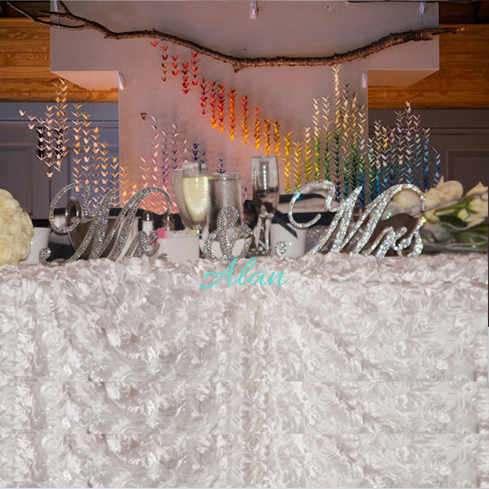 Mr & Mrs Sign Crystal Rhinestone Sweetheart table Head table Wedding Decoration Wedding gift Love Table number