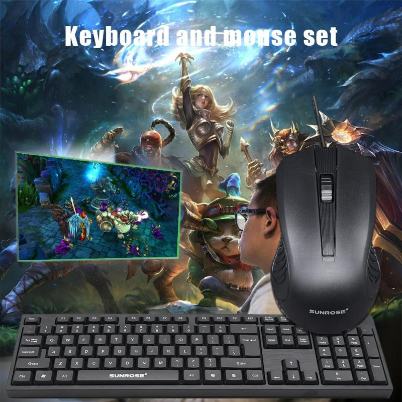 Image 5 - SUNROSE MK10 Office Wired USB 104 Keys Keyboard+1000 DPI 3 Keys Mouse Kit Multi function Game keyboard For Home Office Computer-in Keyboards from Computer & Office