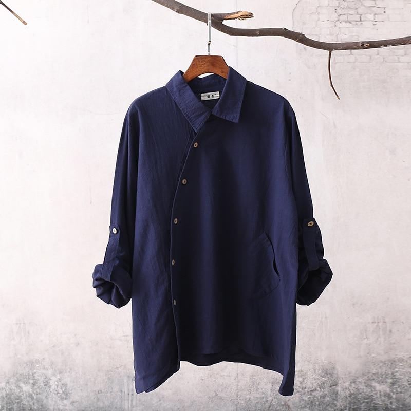 Women Cotton Linen Irregular Hem Shirts Ladies Long Sleeve Loose Blouse Solid Color Single Breasted Shirts 2017 Spring Summer 7