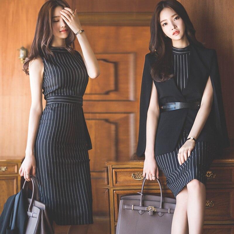Deux Ensembles Noir Femmes Professionnel Manteau Bureau Sexy Ol Mode Costume Nouveau Manches Automne Robes Sans Robe Printemps Fw61naFZxq