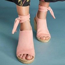 New Arrival Women Summer Sandals Fashion Ankle Strap Wedges Platform Retro Peep Toe Shoes Pink Large Size