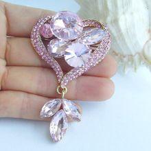 2,76 дюймов золотой тон розовый кристалл горного хрусталя Любовь Сердце цветок брошь булавка EE06514C4