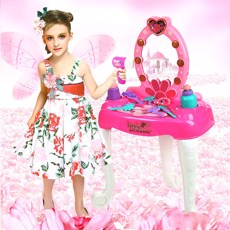 Pretend Play Children Vanity Dressing Table Playset Plastic Toys Furniture  Set for Girls with Light Sound - Compare Prices On Girls Vanity Set- Online Shopping/Buy Low Price