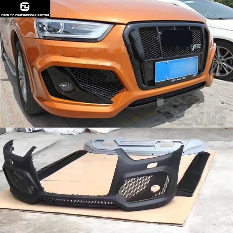 Q3 parachoques delantero de la PU sin pintar faldas laterales para difusor de parachoques trasero rejillas de carreras para Audi Q3 ABT kit de carrocería del coche 13-15