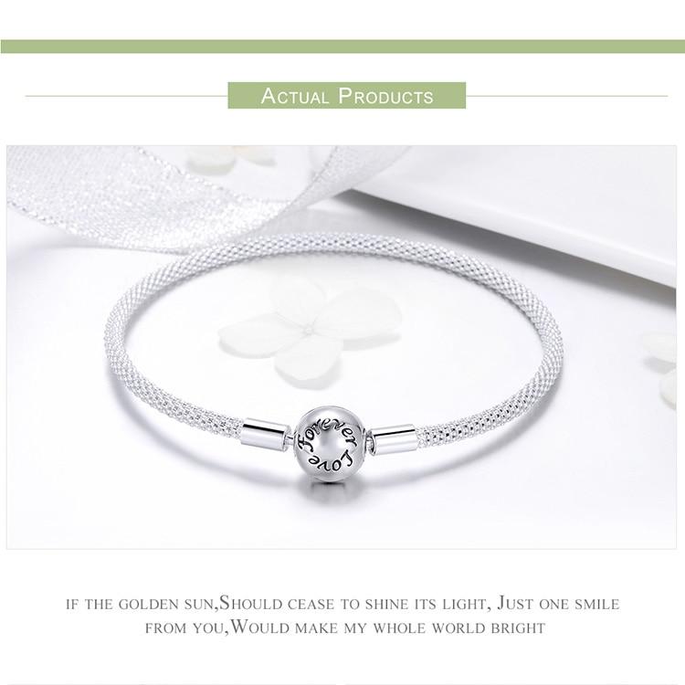 Pulseira 925 Sterling Silver Bracelet Femme Snowflake Heart Blue Eye Femme Snake Chain Bracelets & Bangles Women Jewelry 5