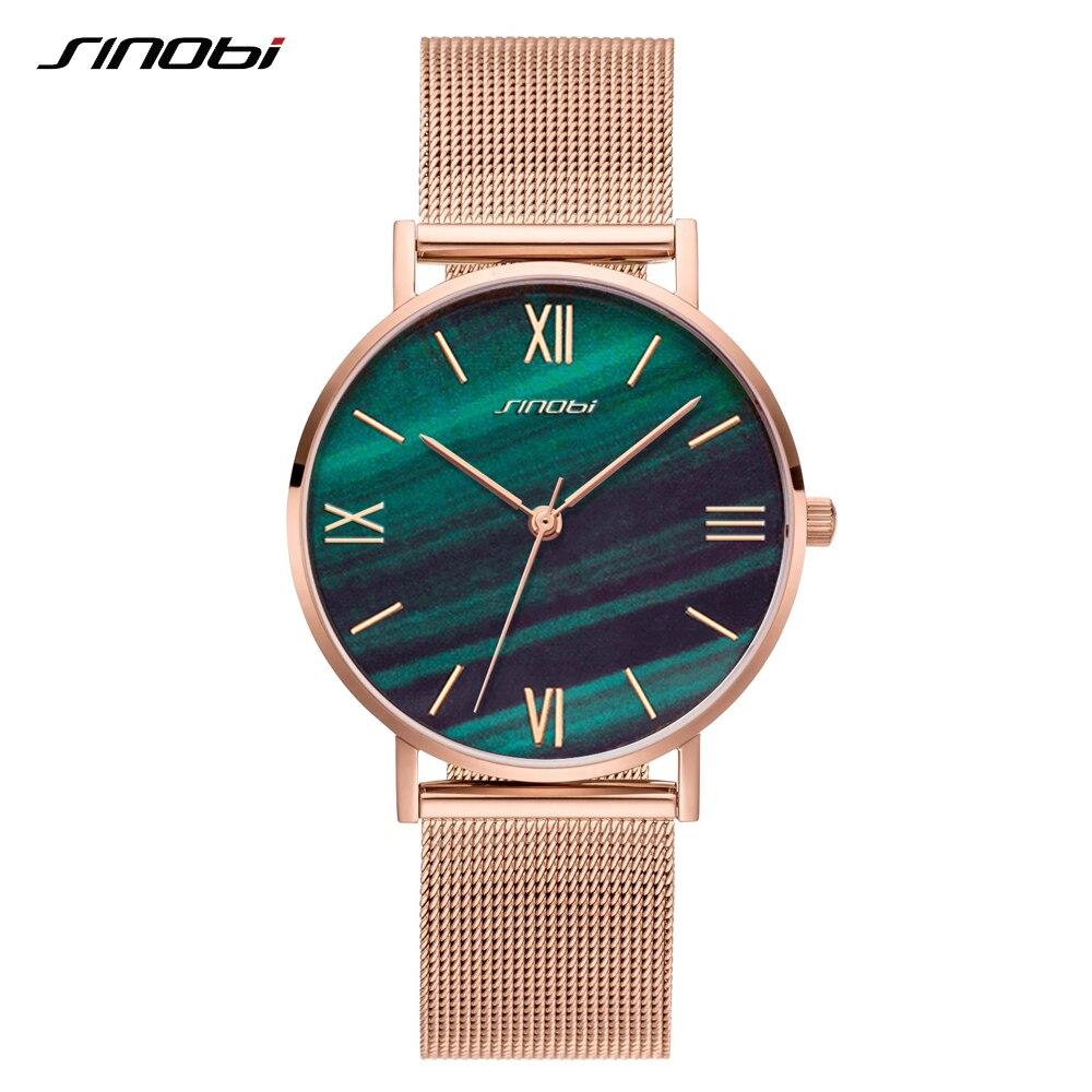 SINOBI Rose Gold Luxury Quartz Watches Women Ultra-thin Green Marble & Crystal Dial Clock Wristwatches Reloj Mujer Dropshipping