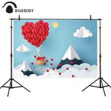 Allenjoy photography background 14 February Valentines Day heart hot air Mount Fuji backdrop photophone photocall photo studio