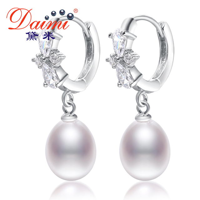 DAIMI 2017 New Arrival 8-9 mm Drop shapped freshwater pearl earrings large crystal bridal earrings for women