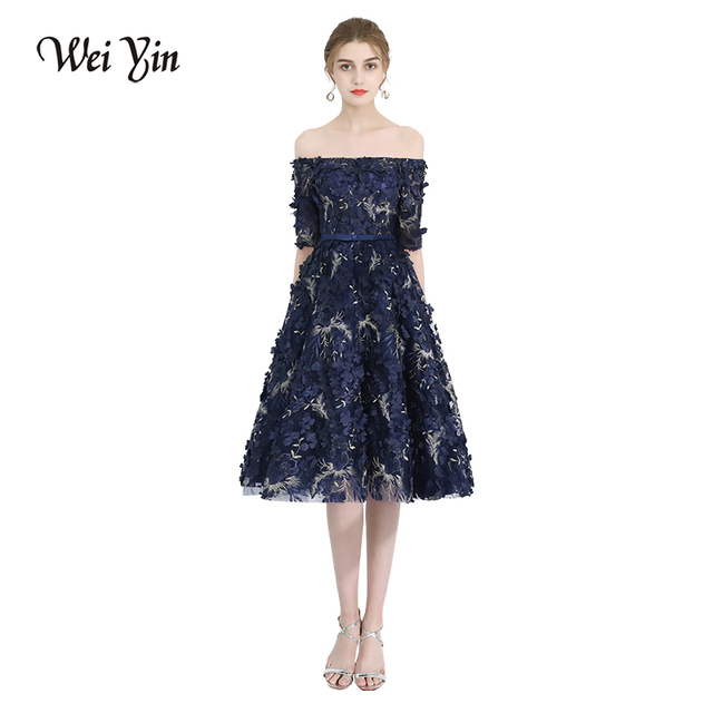 WeiYin Robe De Soiree New Elegant Banquet Lace Flower Eveing Dresses Boat  Neck Navy Blue Appliques Short Formal Party Gown 51a36cd792a2