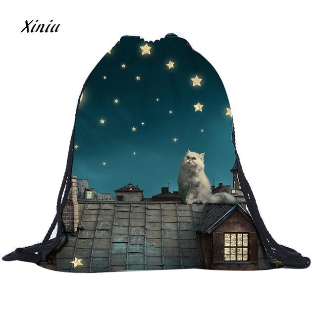2018 nueva moda Unisex Emoji mochilas 3D Star lindos gatos impresión bolsas cordón mochila mujer bolso de hombro de alta calidad