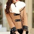 Mulheres Casaco De Lã Casaco de Outono Inverno 2016 Da Marca de Moda Plus Size S-XXL Zipper Gola de Pele Slim Parka Outerwear Casaco Feminino