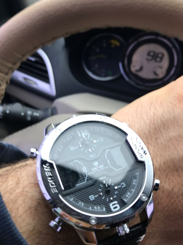 WEIDE montre de sport pour hommes mains analogiques calendrier numérique Quartz marron bracelet en cuir montres reloj hombre 2019 horloge militaire - 3