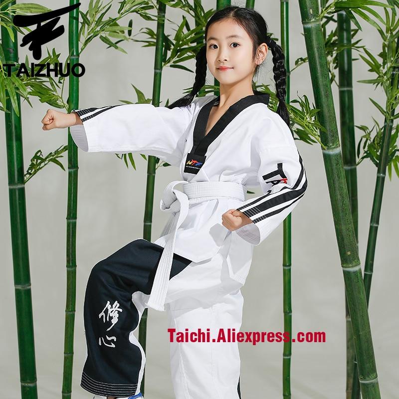 Martial Arts  Tae Kwon Do Children Taekwondo Uinform For Poomsae & Training,WTF Uniform,110-155cm White Color Stripe