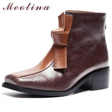 Meotina Women Boots Autumn Ankle Natural Genuine Leather Bow Thick Heel Short Zip Square Toe Shoes Lady Winter 34-39