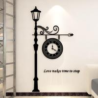 3D Acrylic Wall Stickers Europe Cartoon Clock Stickers for living room wall clock restaurant modern art personalized Wall Clock