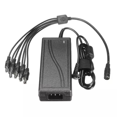 NEW DC 12V 5A Monitor Power Adapter Power Supply + 8 Way Power Splitter Cable For Camera/Radios Surveillance CCTV