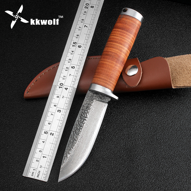 KKWOLF Leather handle Hunting Knife Sharp Fixed blade survival Tactical knives Handmade Damascus Steel outdoor camping knife integral forming bamboo pure handmade small survival camping knife tactical fixed blade knife hunting knives damascus vg10 steel
