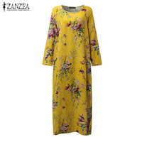 2017 ZANZEA Oversized Vintage Floral Print O Neck Kaftan Long Sleeve Pockets Women Loose Casual Party