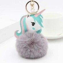 Unicorn Head Pompom Key Ring
