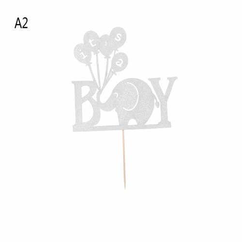 Venta caliente elefante es un niño niña pastel Topper Baby Shower fiesta decoraciones favores bautismo brillo papel Babyshower suministros