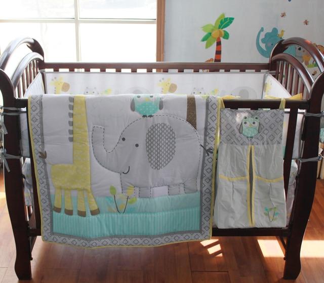 8 Pc Crib Infant Room Kids Baby Bedroom Set Nursery Bedding Blue Grey Elephant Cot