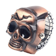 TZ#501 Fashion Unisex Retro Vintage Finger Skull Ring Watch Clamshell Watch Free Shipping(China)